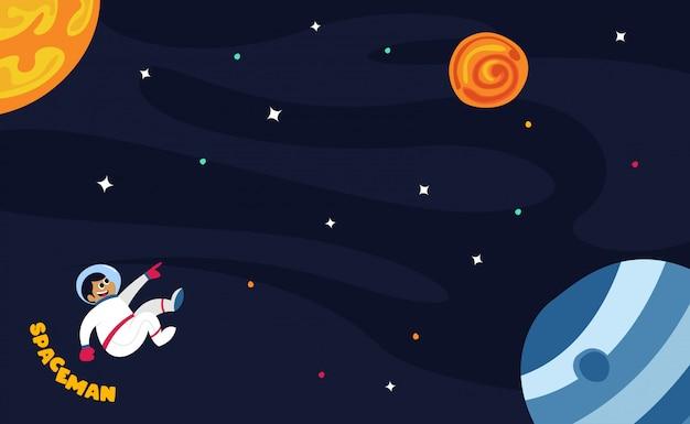 Astronauta nello spazio cosmico con tutte le stelle e l'illustrazione dei pianeti