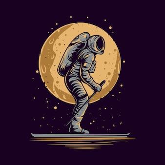 Astronauta pattinaggio su illustrazione dello spazio