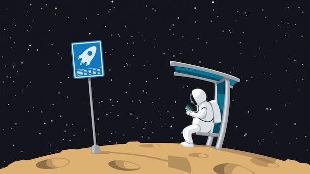 Astronauta seduto sulla fermata della navetta