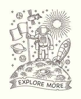 Astronauta sull'illustrazione al tratto del pianeta