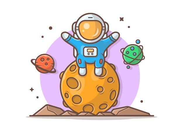 Astronauta sveglio che si siede sulla luna con l'illustrazione del pianeta