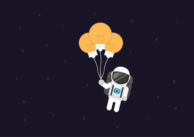 Astronauta volare con palloncino