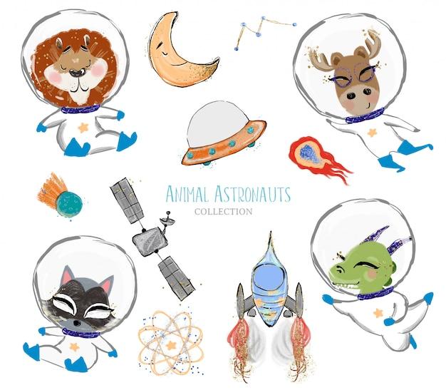 Astronauti animali carini disegnati a mano ed elementi dello spazio
