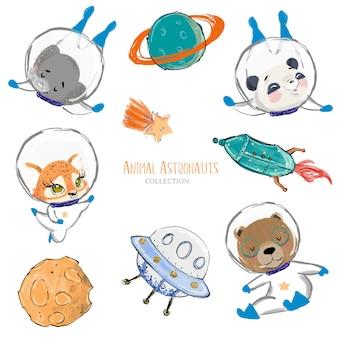 Astronauti animali svegli disegnati a mano con elementi dello spazio