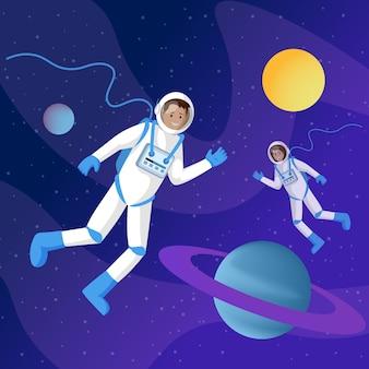 Astronauti nello spazio esterno piatto