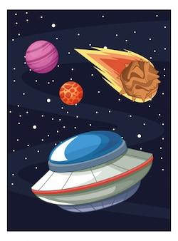 Astronave aliena ufo nella galassia