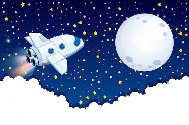 Astronave che vola sulla luna