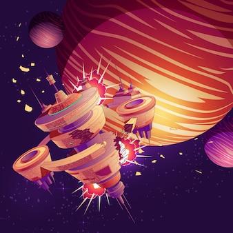 Astronave futura o cartone animato di schianto della stazione orbitale