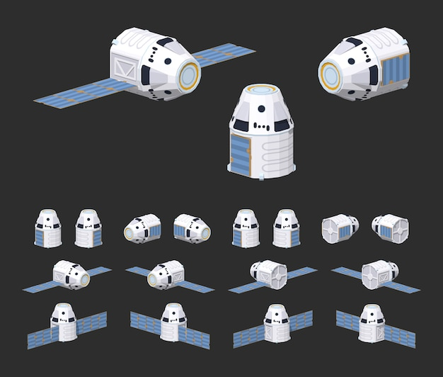 Astronave isometrica 3d lowpoly riutilizzabile moderna