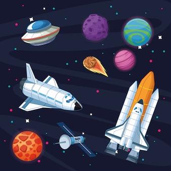 Astronave nella galassia della milkyway