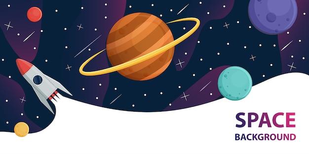 Astronave nella galassia spaziale con pianeti