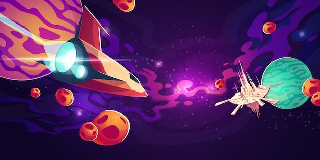 Astronave nello spazio esterno con pianeti o asteroidi