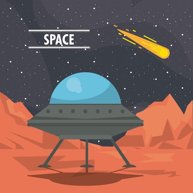 Marte paesaggio sfondo con design piatto scaricare vettori gratis