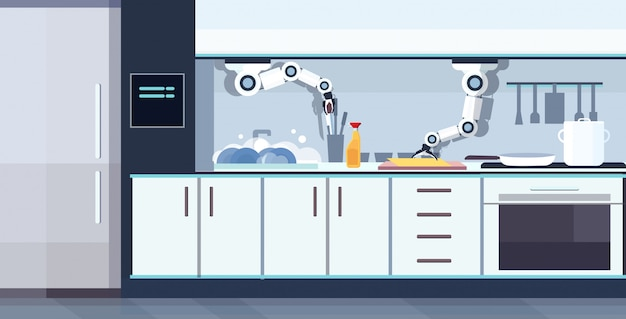 Astuto pratico cuoco robot lavaggio piatti robot assistente innovazione tecnologia intelligenza artificiale concetto cucina moderna orizzontale interno