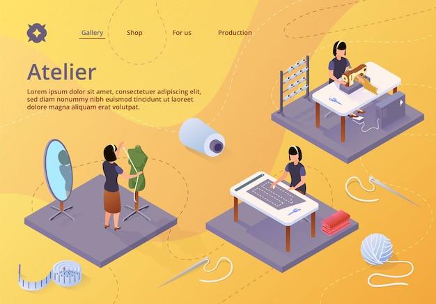 Atelier, business dell'artigianato tessile, modello web della pagina di destinazione