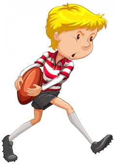 Atleta che gioca rugby su bianco