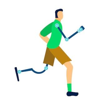 Atleta con illustrazione di protesi