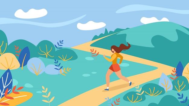 Atleta della giovane donna running training outdoors