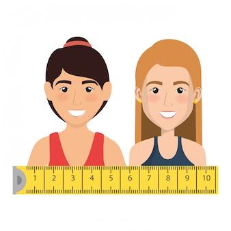 Atleta femminile con l'illustrazione di misura di nastro