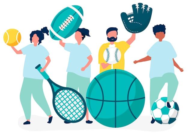 Atleti che trasportano diverse icone di sport
