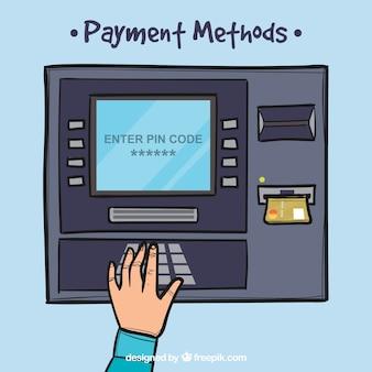 Atm disegnato a mano e carta di credito