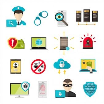 Attacco cyber del virus delle icone di sicurezza di internet