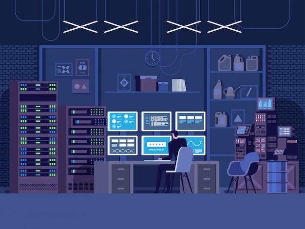Attacco di hacker di internet e concetto di sicurezza dei dati personali.