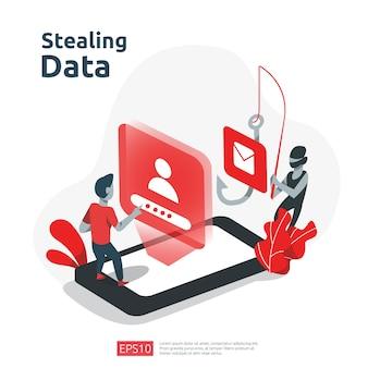 Attacco di phishing con password. rubare dati personali. concetto di sicurezza di internet