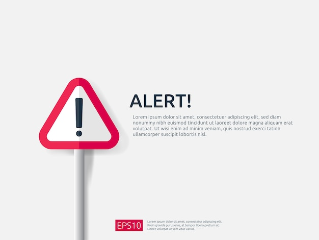 Attenzione avviso banner segno di allarme