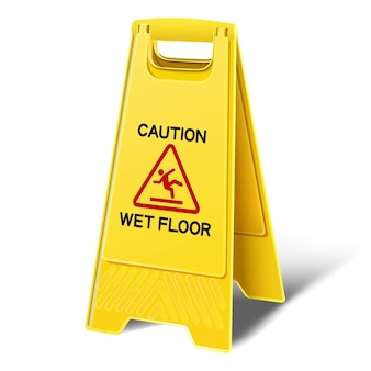 Attenzione pavimento bagnato cartello in plastica gialla. icona illustrazione su sfondo bianco.