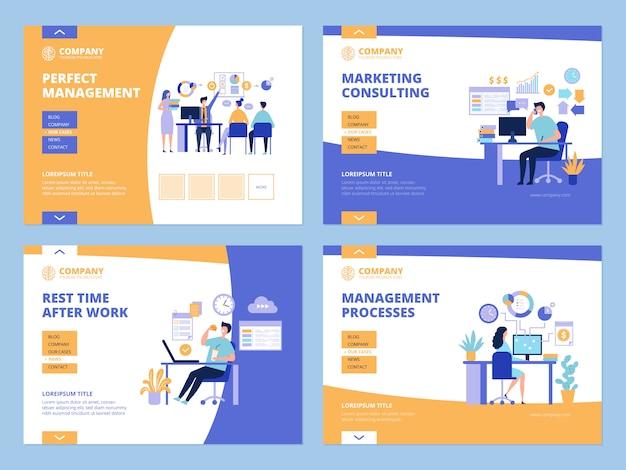 Atterraggio d'affari. elenco di controllo dell'orologio del processo di gestione e pianificazione del lavoro d'ufficio per il modello di layout delle pagine web dei manager