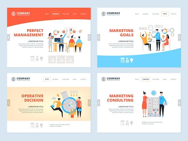 Atterraggio di gestione. atterraggio dell'area di lavoro del team dei responsabili dei consulenti di marketing organizzazione organizzazione sito web aziendale