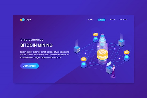 Atterraggio di investimento isometrico in criptovaluta bitcoin