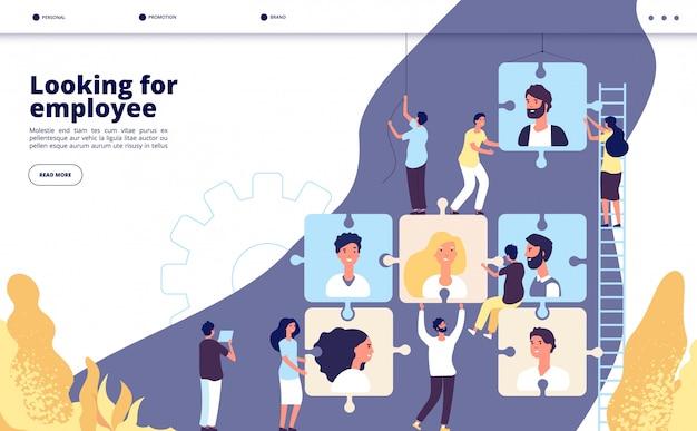 Atterraggio di reclutamento. ricerca di lavoro online e ricerca di lavoro, pagina web aziendale di agenzia di collocamento di pubblicità di posti vacanti