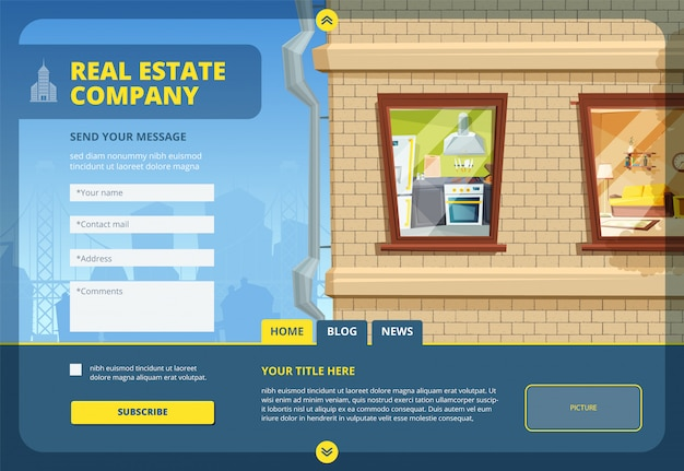 Atterraggio immobiliare. trova il tuo modello di layout di appartamento o edificio commerciale con paesaggio urbano urbano e design di moduli web