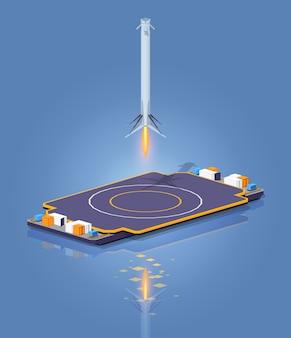 Atterraggio isometrico 3d lowpoly sulla chiatta spaziale