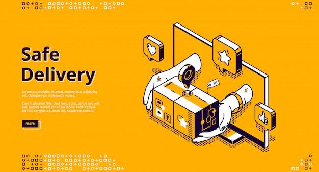 Atterraggio isometrico del servizio online di consegna sicura