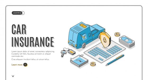 Atterraggio isometrico dell'assicurazione auto