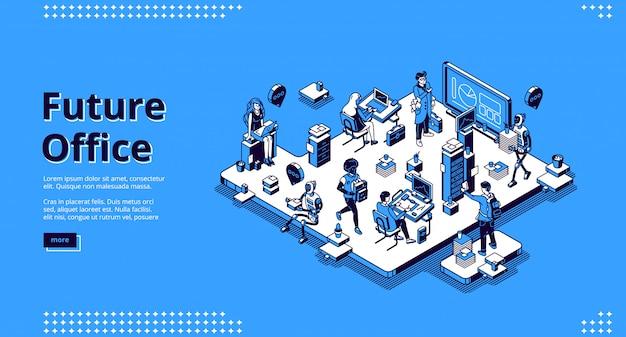 Atterraggio isometrico dell'ufficio futuro, umano e robot