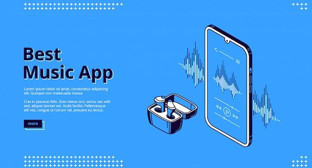 Atterraggio isometrico della migliore app musicale, auricolare wireless