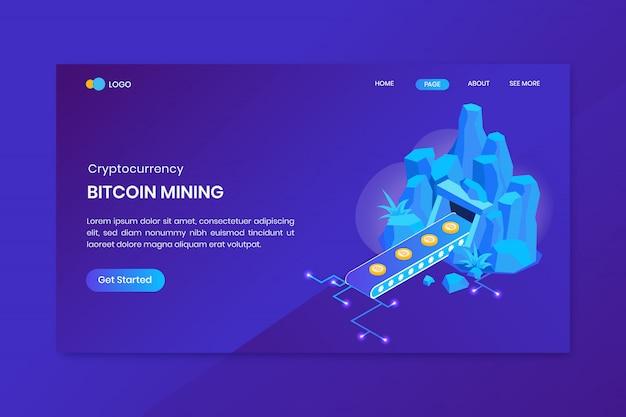 Atterraggio isometrico di concetto di estrazione mineraria di bitcoin