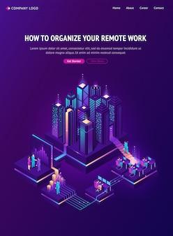Atterraggio isometrico di lavoro a distanza, outsourcing globale