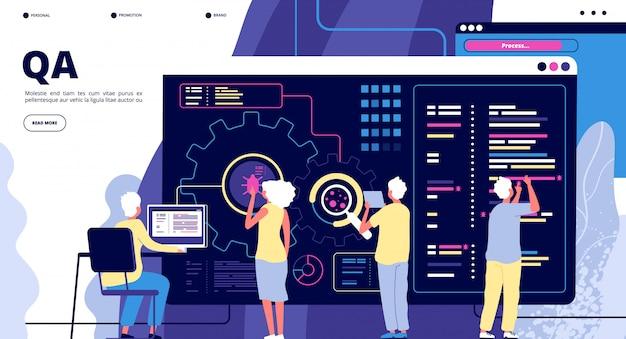Atterraggio qa. garanzia di qualità del test del software. persone che risolvono bug nel dispositivo hardware. progettazione di pagine web vettoriali