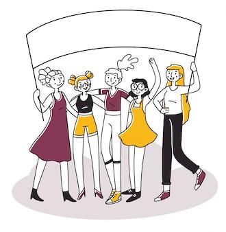 Attivisti femminili che tengono insieme l'insegna di protesta