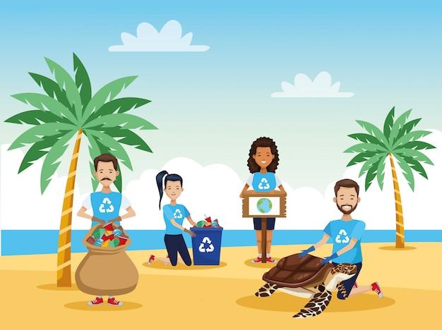 Attivisti persone pulizia spiaggia con scena di tartaruga marina