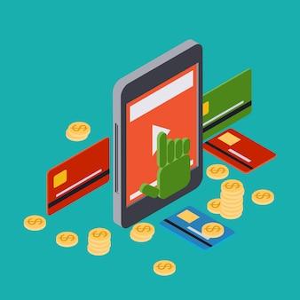 Attività bancarie online, banca mobile, trasferimento di denaro, illustrazione isometrica piana di concetto di vettore 3d di paga per clic