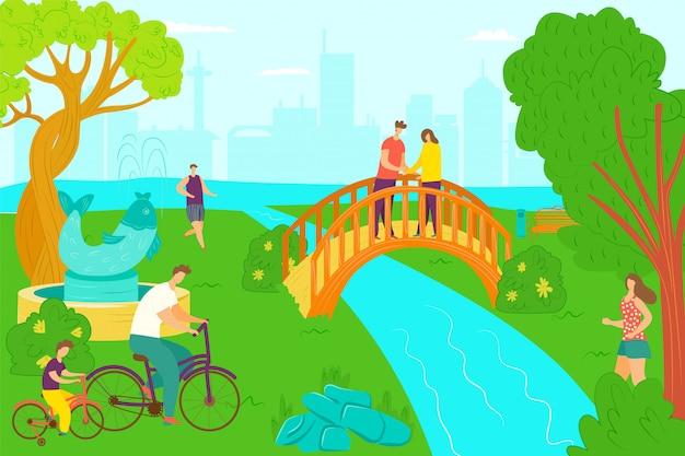 Attività del parco e svago felice, illustrazione. la gente adulta al giardino, estate cammina sulla natura dell'erba verde. camminata di giorno di stile di vita, uomo donna ar all'aperto bellissimo fiume e albero.