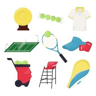 Attività della concorrenza di vettore del gioco della palla del gioco dell'attrezzatura della pallina da tennis. allenamento di attrezzi da campionato per gare di atletica. hobby attivo professionale sportivo uniforme di fitness.