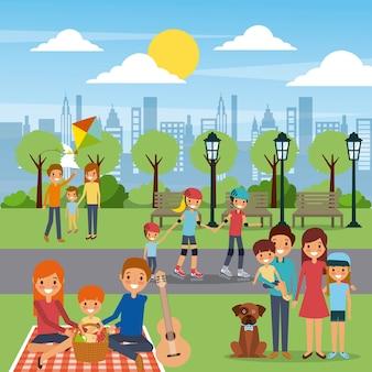 Attività della famiglia di differents nel giorno soleggiato della città del parco
