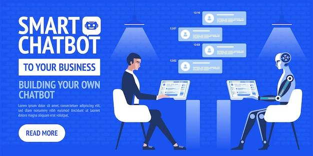 Attività di chatbot. banner moderno